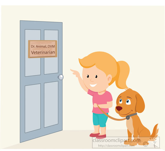girl and dog entering veterinarian office clipart